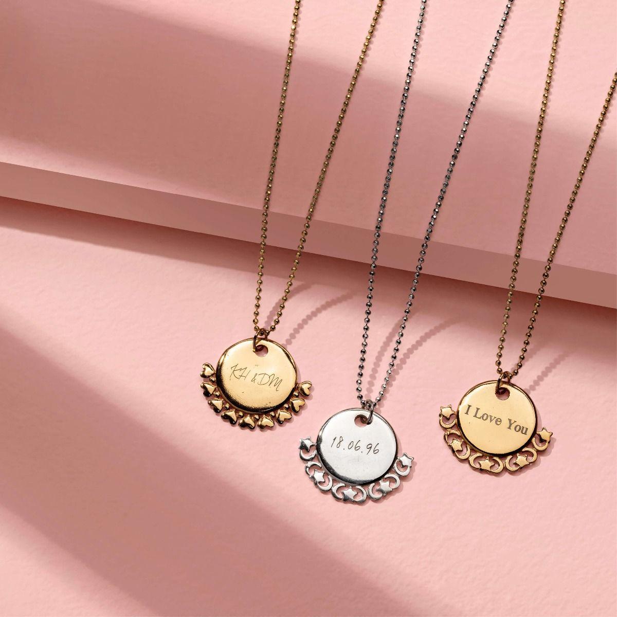 ChloBo Personalised Diamond Cut Adjuster Necklace with Star Charm - Gold (PGCDCADJ3064)