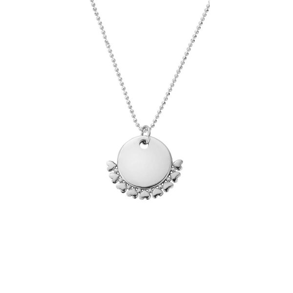ChloBo Personalised Diamond Cut Adjuster Necklace with Heart Charm - Silver (PSCDCADJ3060)
