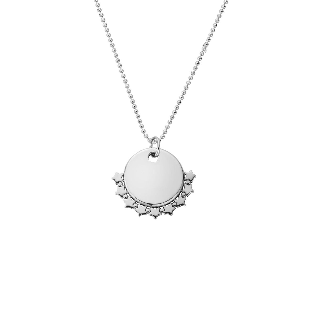 ChloBo Personalised Diamond Cut Adjuster Necklace with Star Charm - Silver (PSCDCADJ3061)