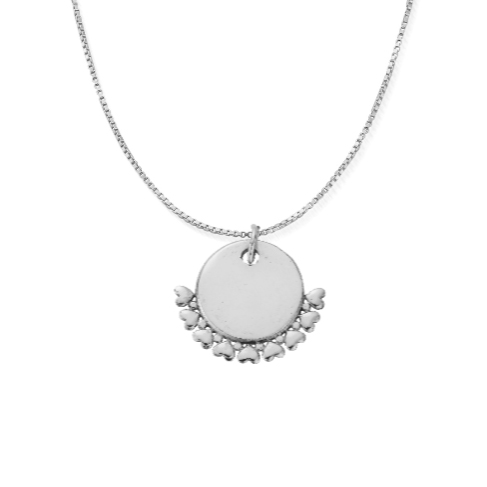 ChloBo Personalised Delicate Box Chain Necklace with Heart Charm - Silver (PSNDB3054)