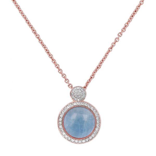 Bronzallure Milanese Italian Necklace - Aquamarine and White CZ (WSBZ00815.LB)