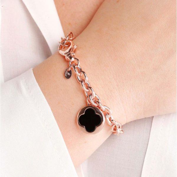 Bronzallure Four Leaf Clover Charm Bracelet - Black Onyx (WSBZ00912.BO)
