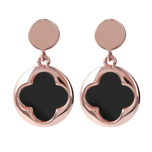 Bronzallure Four Leaf Clover Dangle Earrings - Black Onyx (WSBZ00914.BO)