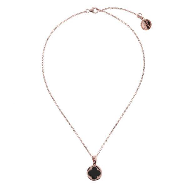 Bronzallure Four Leaf Clover Charm Necklace - Black Onyx (WSBZ00916.BO)