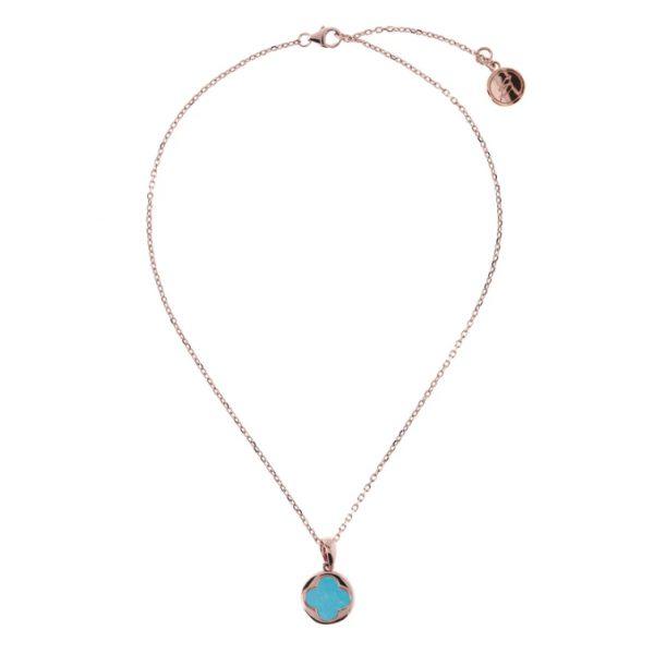 Bronzallure Four Leaf Clover Charm Necklace - Magnesite (WSBZ00916.MG)