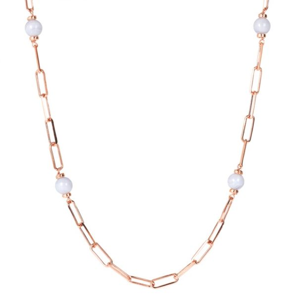 Bronzallure Station Necklace with Forzatina Chain and Natural Stone - Blue Lace Agate (WSBZ01726.BLA)