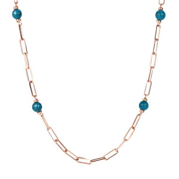 Bronzallure Station Necklace with Forzatina Chain and Natural Stone - Blue Quartz (WSBZ01726.BQ)