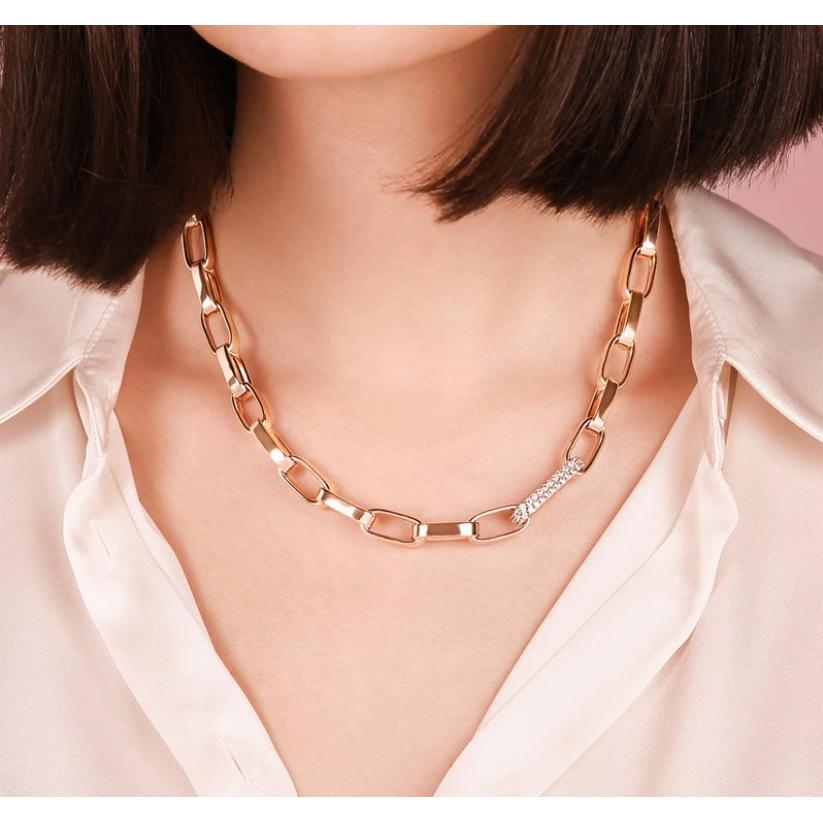 Bronzallure Bold Forzatina Chain Necklace with Pavé Detail (WSBZ01870.W)