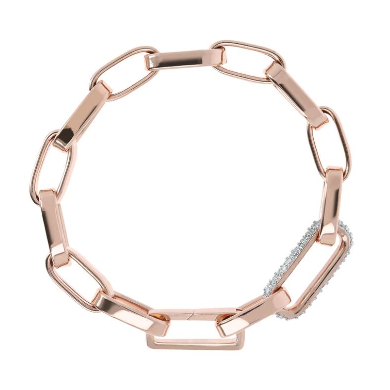 Bronzallure Bold Forzatina Chain Bracelet with Pavé Detail (WSBZ01871.W)