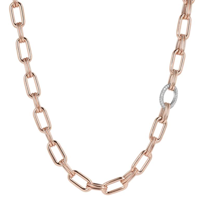 Bronzallure Forzatina Chain Necklace with Cubic Zirconia (WSBZ01879.W)