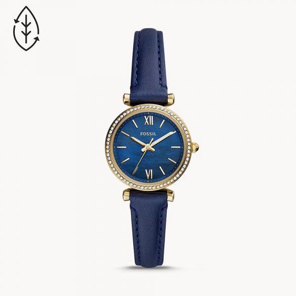 Fossil Carlie Mini Three-Hand Navy Leather Watch (ES5017)