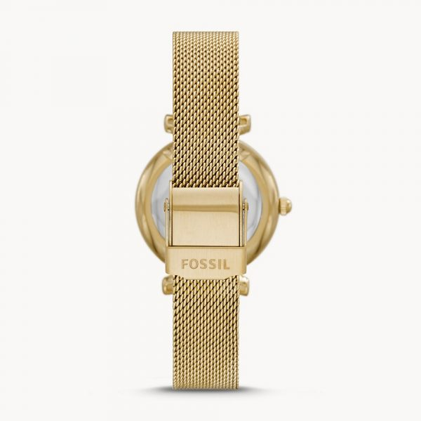 Fossil Carlie Mini Three-Hand Gold-Tone Stainless Steel Mesh Watch (ES5020)