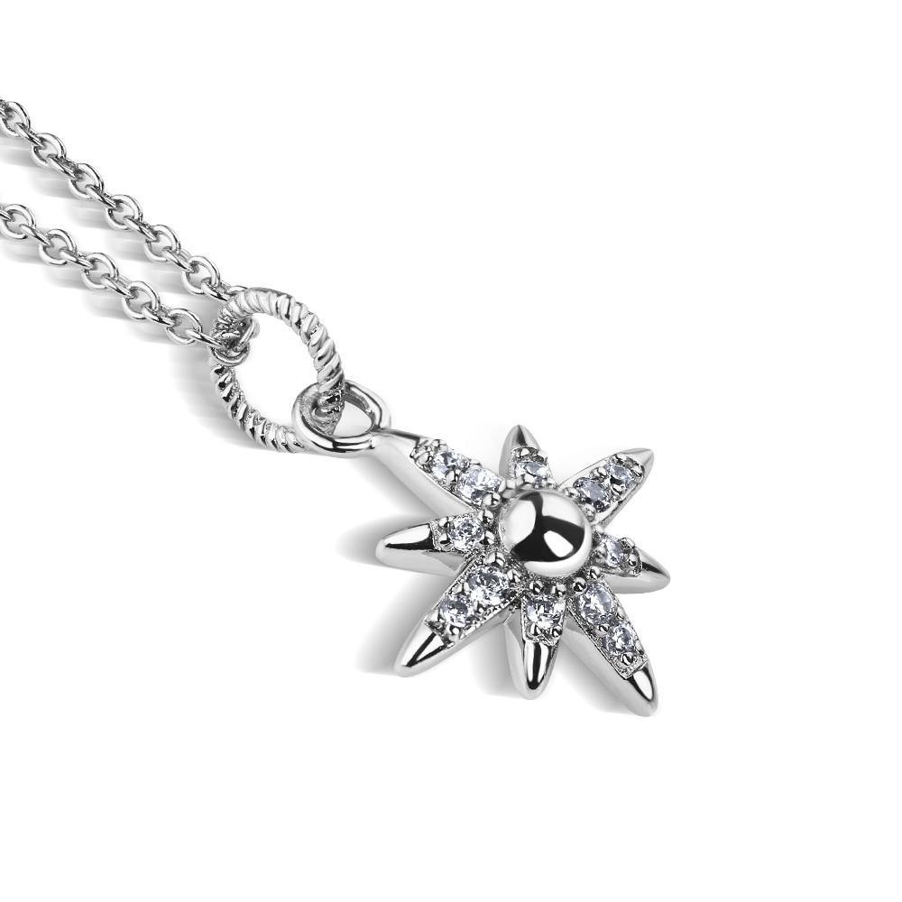 Newbridge Silverware Silver Plated Star Pendant with Clear Stones (P022SR)