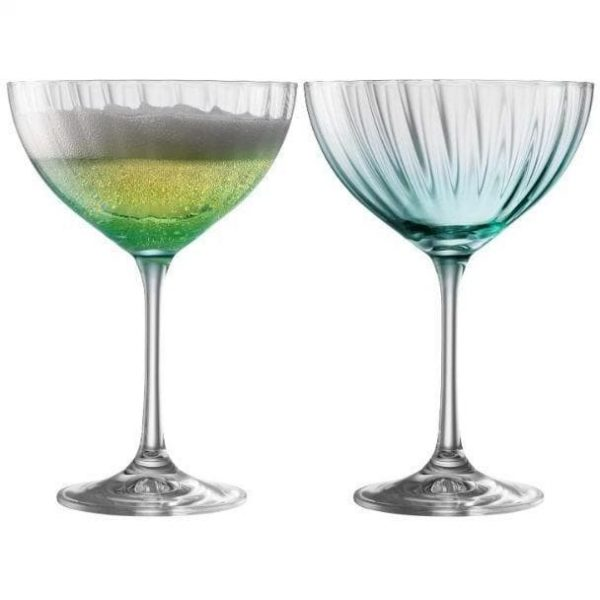 Galway Crystal Erne Saucer Champagne Glass Pair - Aqua (G323022)