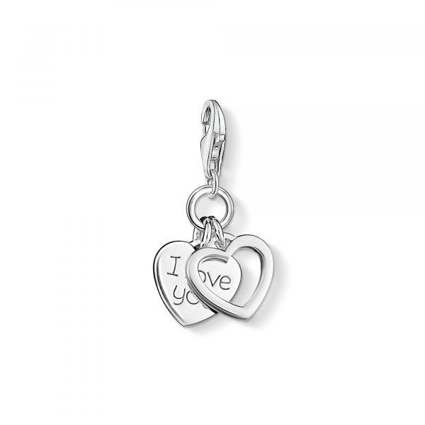Thomas Sabo 'I Love You' Double Heart Charm (0852-001-12)