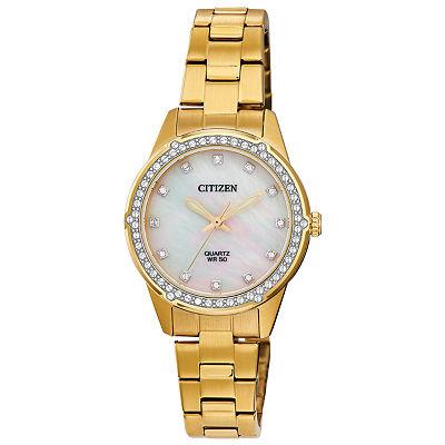 Citizen Crystal Accent Gold-Tone Stainless Steel Bracelet (ER0222-56D)