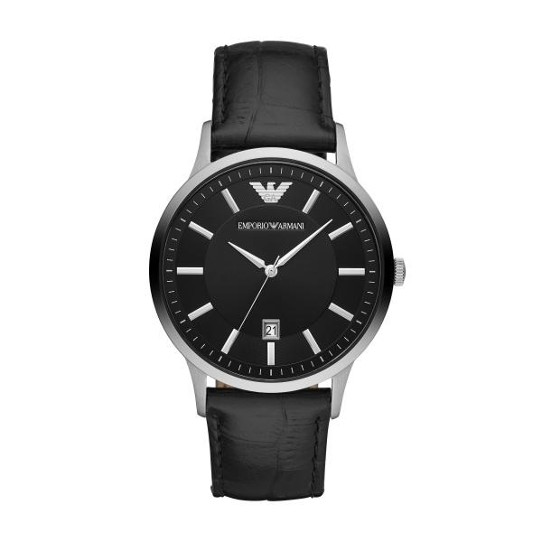 mporio Armani Black Leather Strap Watch (AR11186)
