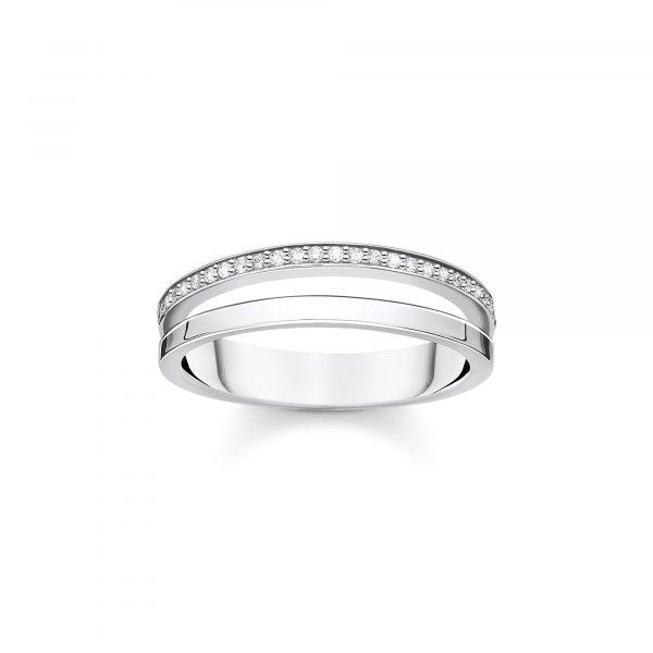 Thomas Sabo Double Ring with White Stones Size 54 (TR2316-051-14-54)