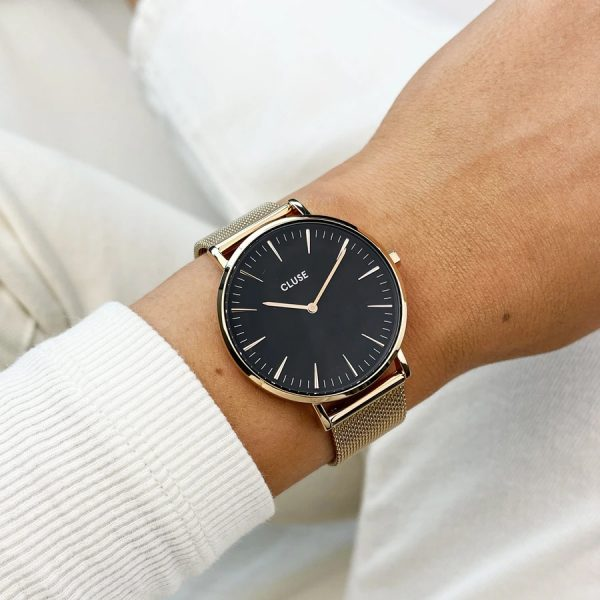 Cluse Gift Box - Rose Gold Boho Chic Mesh Watch & Black Leather Strap (CG10106)