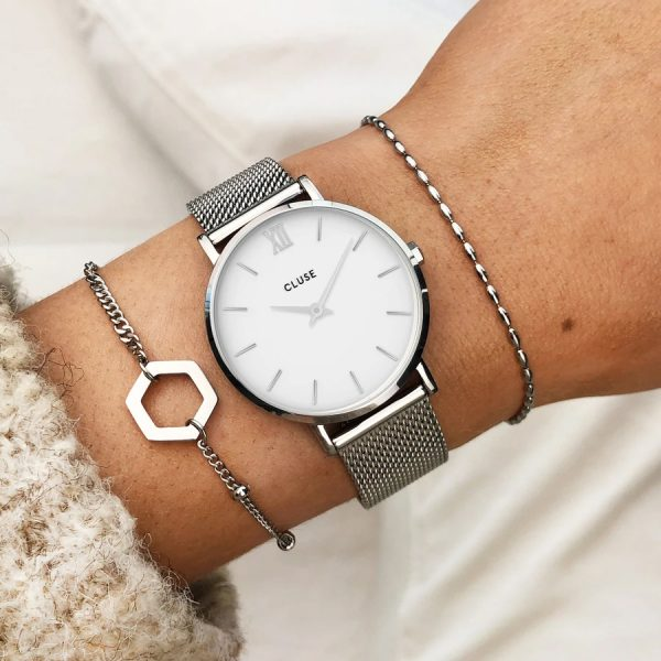 Cluse Gift Box Silver Minuit Watch & Brown Leather Strap (CG10207)