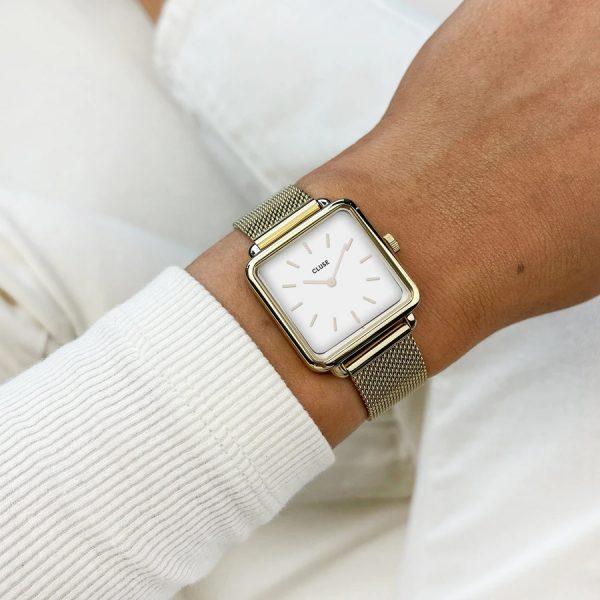 Cluse Gift Box La Tétragone Gold Watch & Leather Strap (CG10318)
