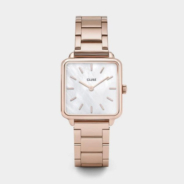 Cluse La Tétragone White Pearl and Rose Gold Watch (CL60027S)