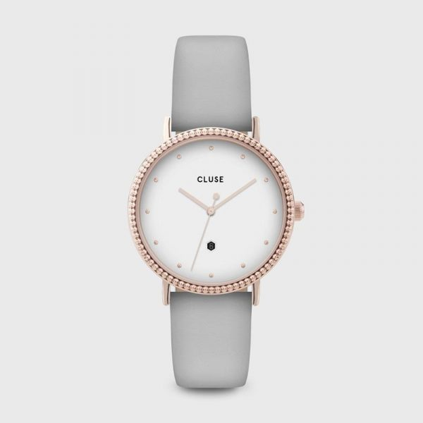 Cluse Le Couronnement Grey Leather and Rose Gold Watch (CL63001)