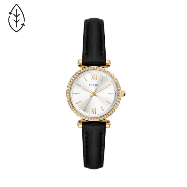 Fossil Carlie Three-Hand Black Eco Leather Watch (ES5127)
