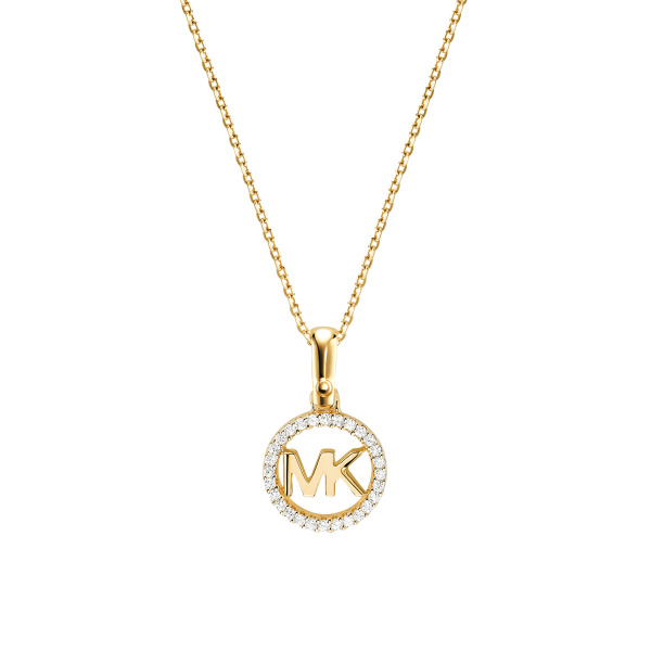 Michael Kors Gold-Plated Sterling Silver Pavé Logo Necklace (MKC1108AN710)